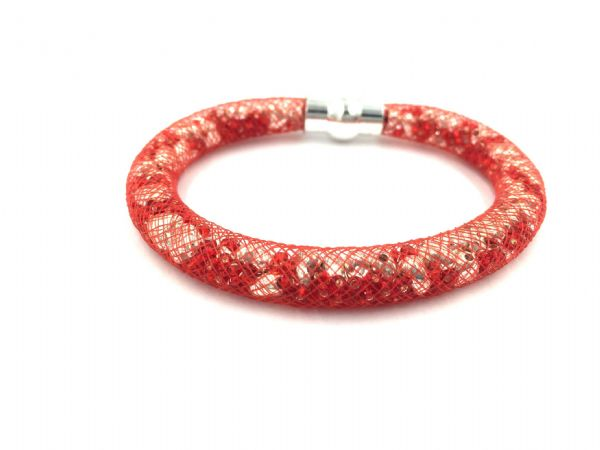 Starburst bracelet - Red beads - Silver hearts with red mesh - Makes 5 bracelets MKv01 (1)